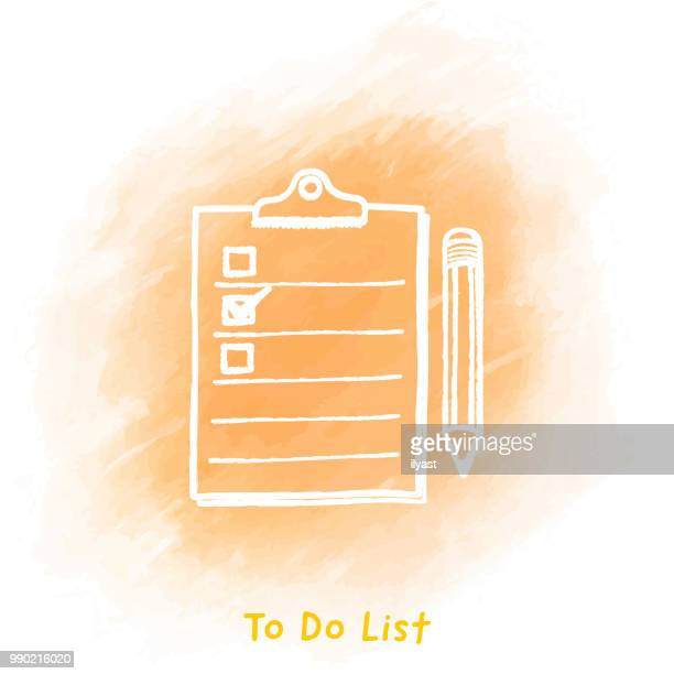 to do list doodle watercolor background - to do list stock illustrations