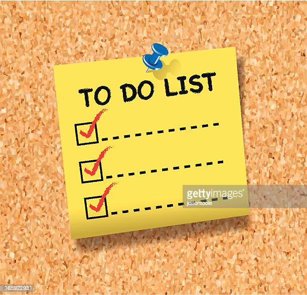 to do list note on cork board - to do list stock illustrations, clip art, cartoons, & icons