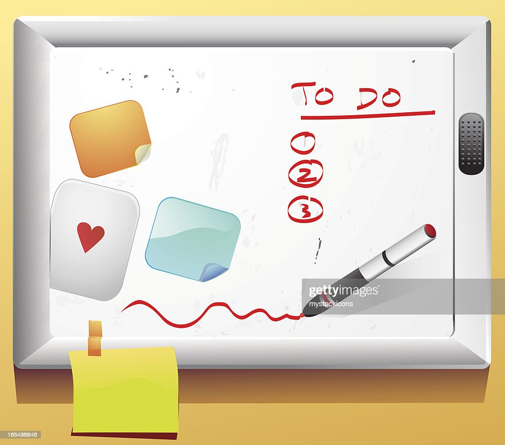 To Do White Board, Paper Sticky Notes : stock illustration