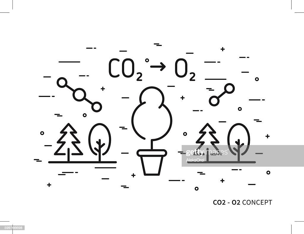 CO2 (carbon dioxide) to O2 (oxygen) vector illustration
