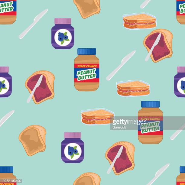 toast with jelly and peanut butter - peanut butter and jelly sandwich stock illustrations