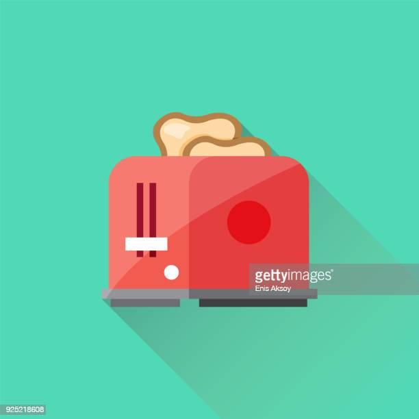 toaster flat icon - toast bread stock illustrations, clip art, cartoons, & icons
