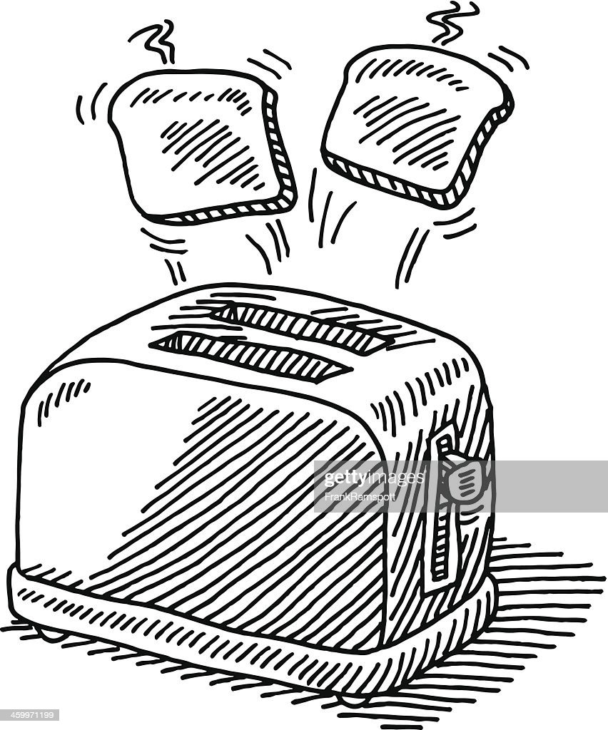 Toaster Hot Slices Of Bread Jumping Out Drawing : stock illustration