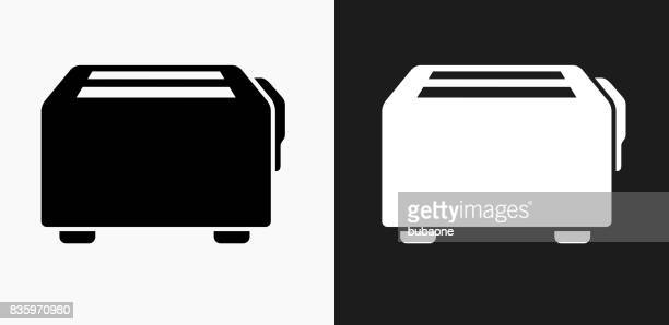Toaster Icon on Black and White Vector Backgrounds