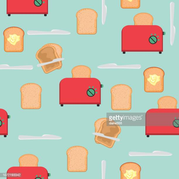 Toaster With Bread And Peanut Butter Pattern