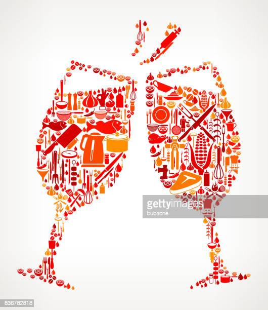 Toasting Glass Cooking and Food Vector Icon Pattern