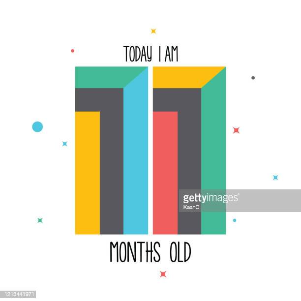 today i am 11 months old. baby sticker for little girls and boys. great baby shower. happy birth day stock illustration - 2 5 months stock illustrations