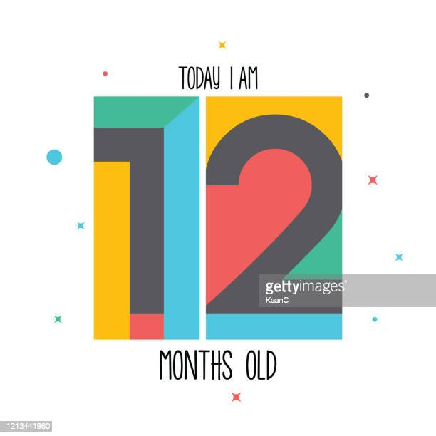 today i am 12 months old. baby sticker for little girls and boys. great baby shower. happy birth day stock illustration - 6 11 months stock illustrations
