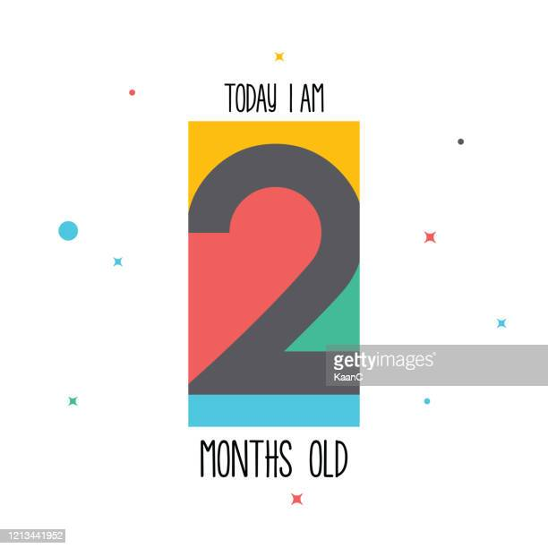 today i am 2 months old. baby sticker for little girls and boys. great baby shower. happy birth day stock illustration - number 2 stock illustrations