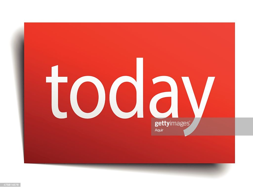 today red paper sign on white background