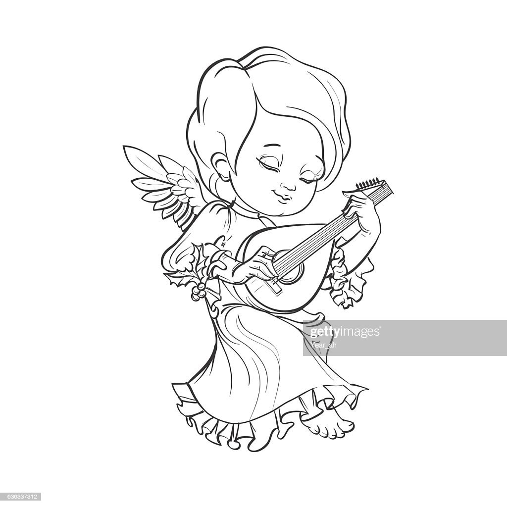 Toddler angel making music playing lute
