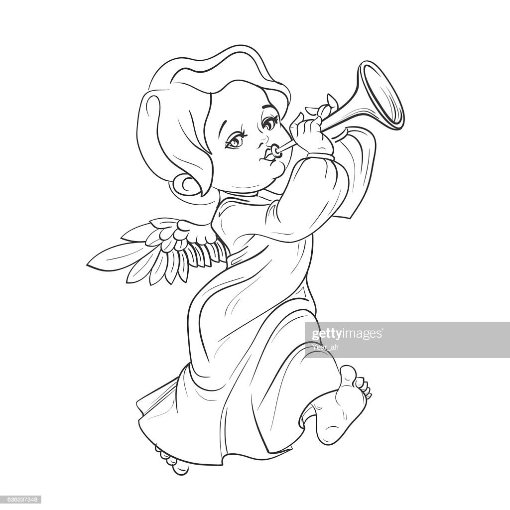 Toddler angel making music playing trumpet