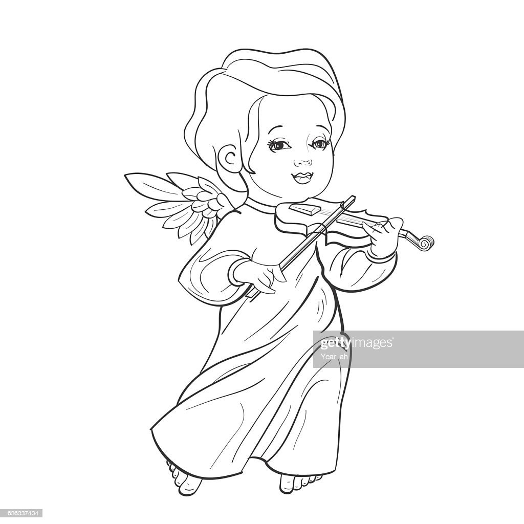 Toddler angel making music playing violin