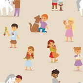 Toddler cartoon kids characters little pets friendship vector illustration seamless pattern