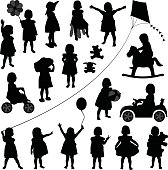 Toddler Child Girl in Silhouette Vector