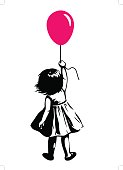 Toddler girl with red balloon, street art graffiti style
