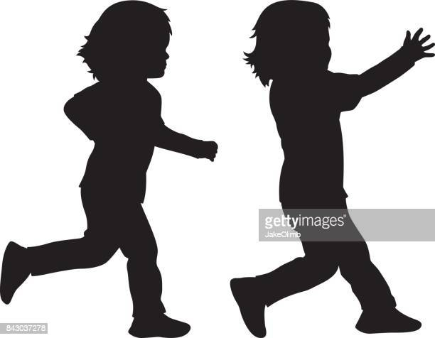 toddler running silhouette - toddler stock illustrations, clip art, cartoons, & icons