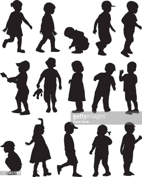toddler silhouettes - toddler stock illustrations, clip art, cartoons, & icons