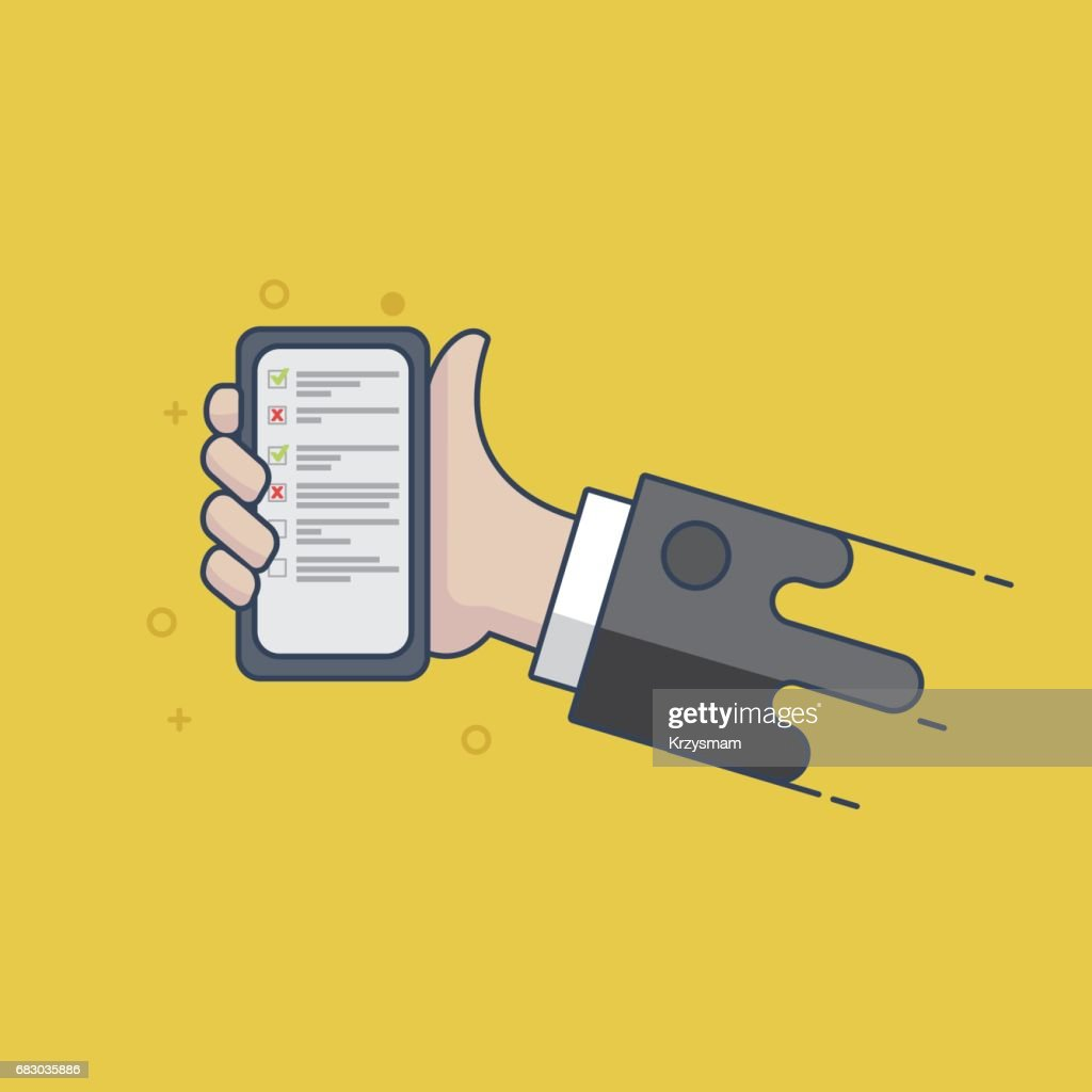 Todo list on smartphone screen - Illustration