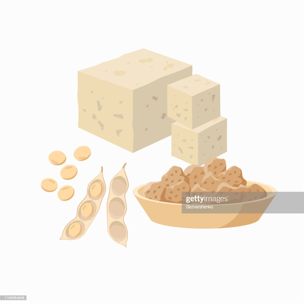 Tofu and soy bean pod with soy seeds and soy meat in the plate isolated on white background. Vector illustration in flat design. : stock illustration