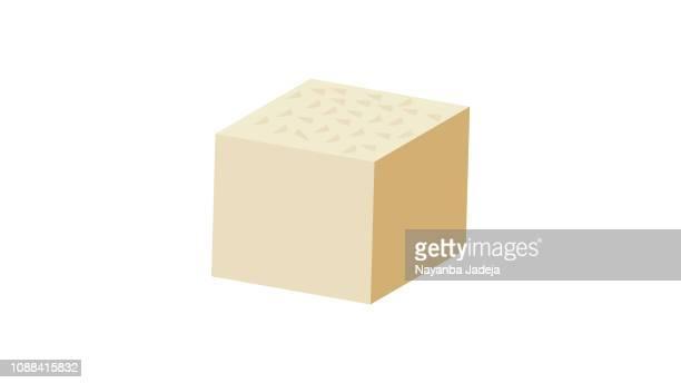 illustrazioni stock, clip art, cartoni animati e icone di tendenza di icona vettoriale piatta del tofu, design piatto di formaggio di soia - sostituto della carne