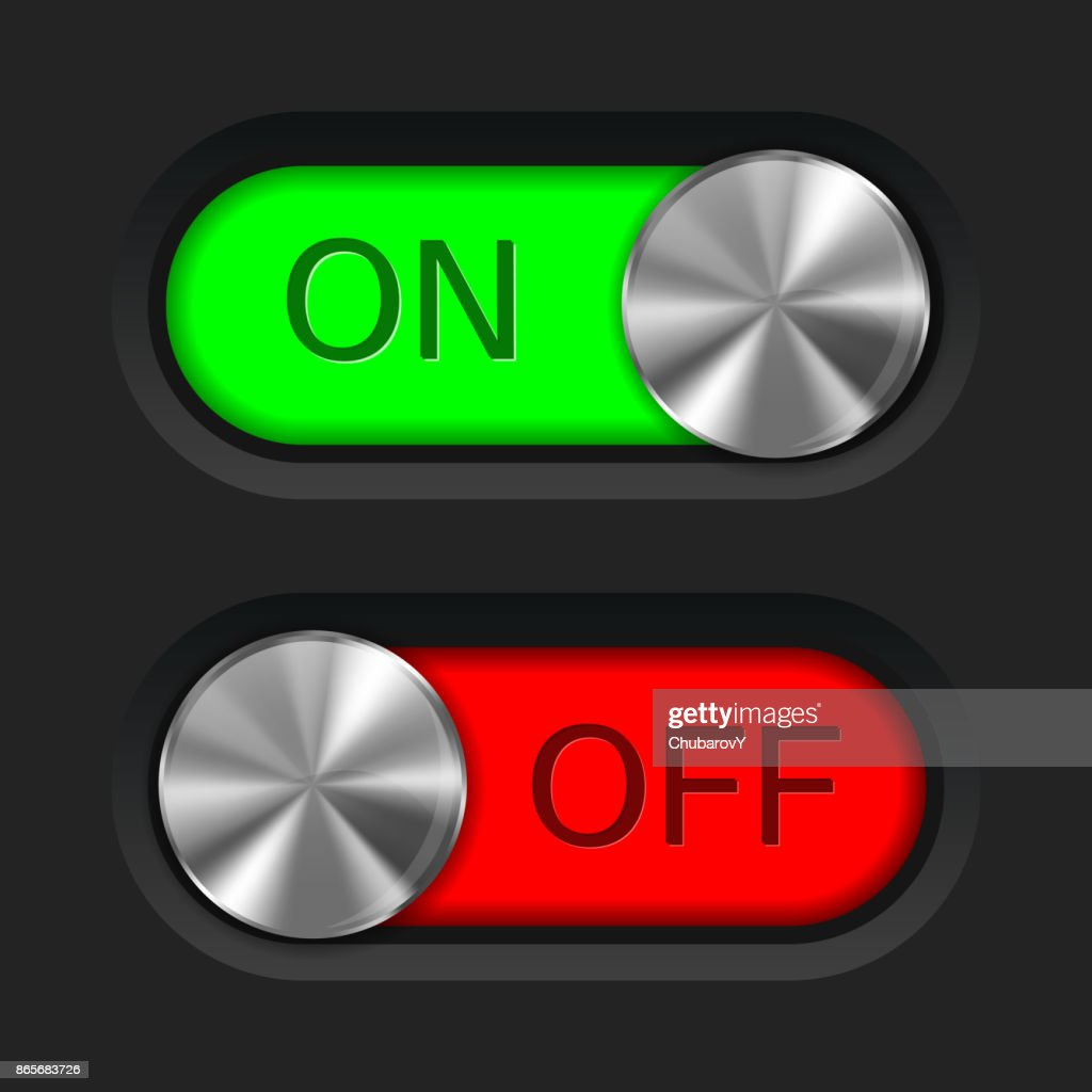 Toggle slider. On and off. User interface buttons