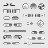 Toggle switch buttons vector set
