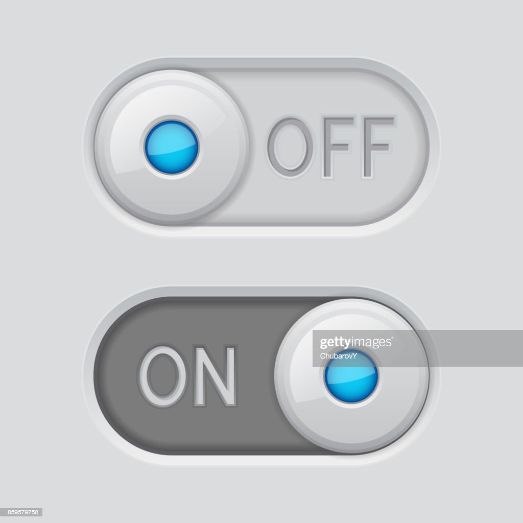 Toggle switch white buttons ON and OFF