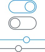 Toggle switches and sliders outline icon, On and Off position