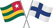 Togo and Finland flags. Vector.