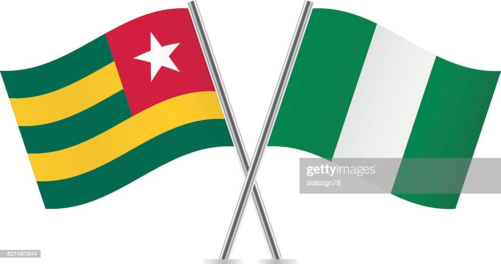 Togo and Nigeria flags. Vector.