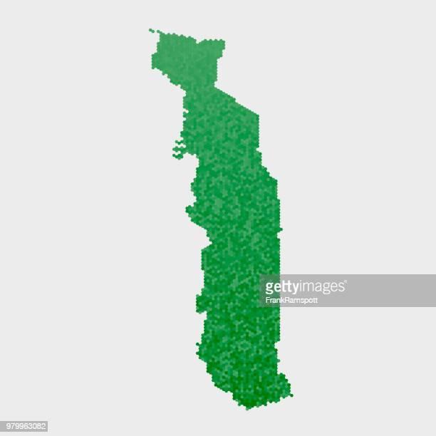 Togo-Land-Map-grünen Sechseck-Muster