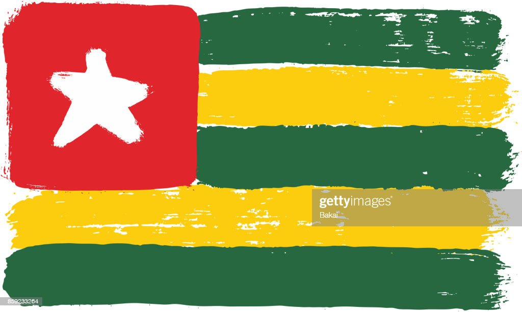 Togo Flag Vector Hand Painted with Rounded Brush