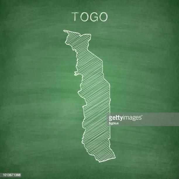 togo map drawn on chalkboard - blackboard - togo stock illustrations, clip art, cartoons, & icons