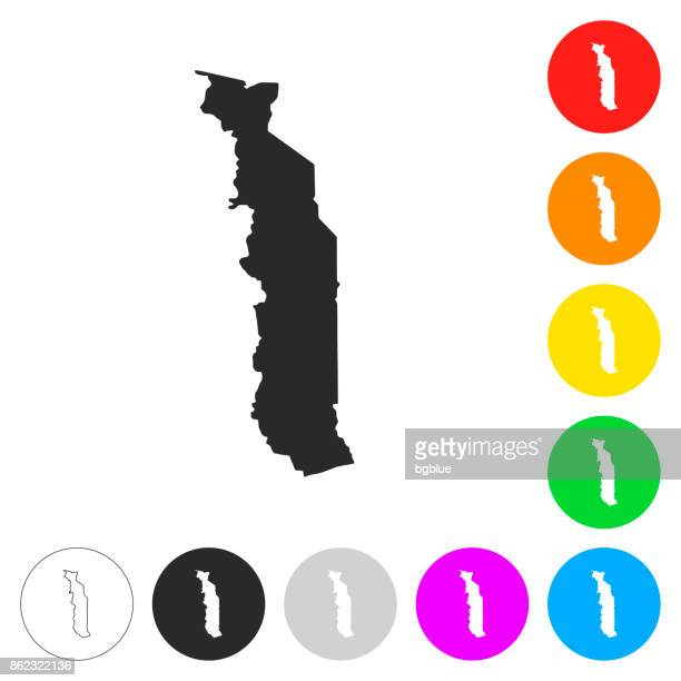 togo map - flat icons on different color buttons - togo stock illustrations