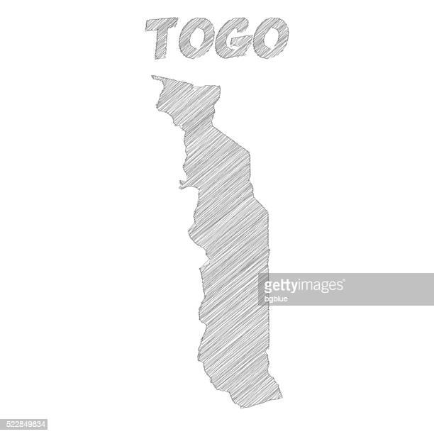 togo map hand drawn on white background - togo stock illustrations, clip art, cartoons, & icons