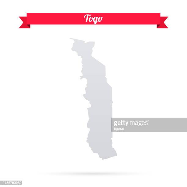togo map on white background with red banner - togo stock illustrations