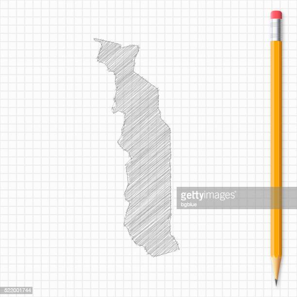 togo map sketch with pencil on grid paper - togo stock illustrations, clip art, cartoons, & icons