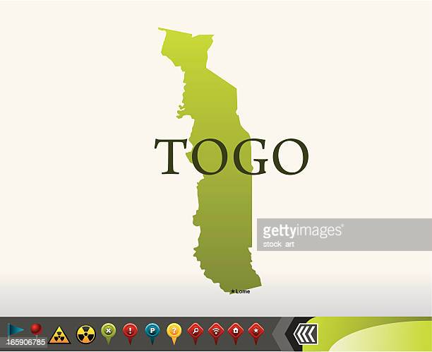 togo map with navigation icons - togo stock illustrations, clip art, cartoons, & icons