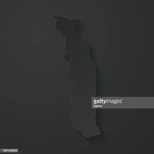 togo map with paper cut effect on black background - togo stock illustrations, clip art, cartoons, & icons