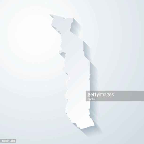 togo map with paper cut effect on blank background - togo stock illustrations