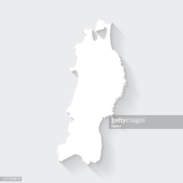 空白の背景に長い影を持つ東北マップ - フラットデザイン - 東北地方点のイラスト素材/クリップアート素材/マンガ素材/アイコン素材