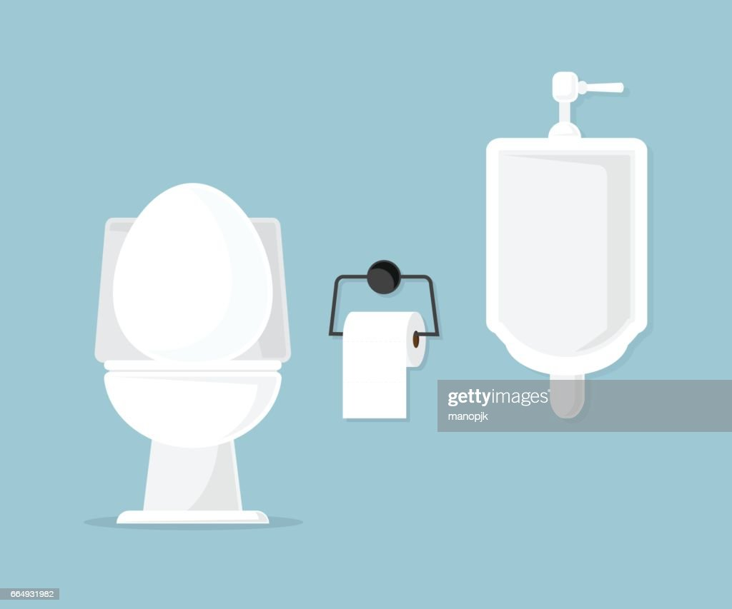 toilet bowl and urinal in bathroom