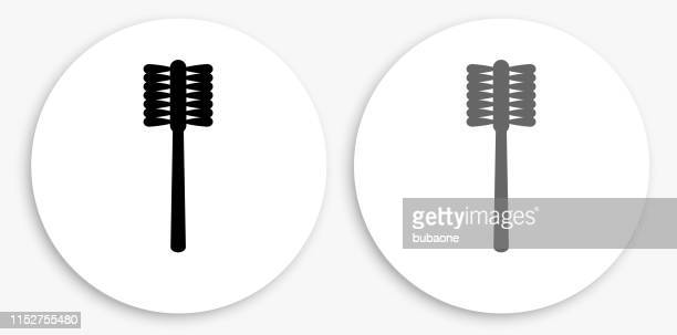 toilet brush black and white round icon - toilet brush stock illustrations, clip art, cartoons, & icons