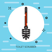 Toilet Brush Open Outline Cleaning Supplies Icon