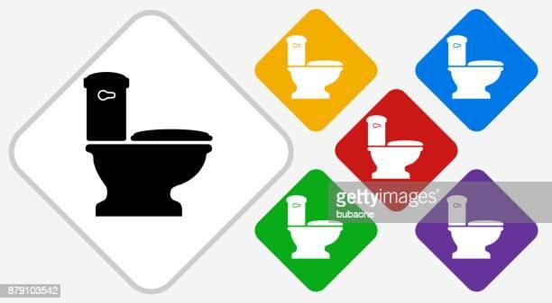 toilet color diamond vector icon - bathroom stock illustrations, clip art, cartoons, & icons