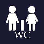 WC / Toilet door plate icon. Men and women.