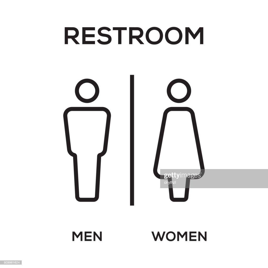 WC / Toilet Door Plate. Men and Women Sign for Restroom. : stock illustration