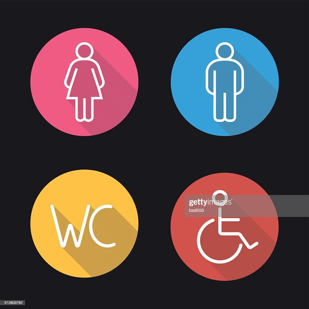 WC toilet door signs icons