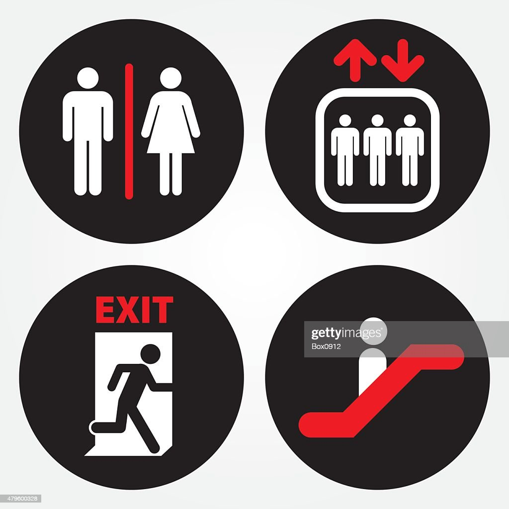Toilet, Escalator, Elevator, Emergency Exit Door Sign